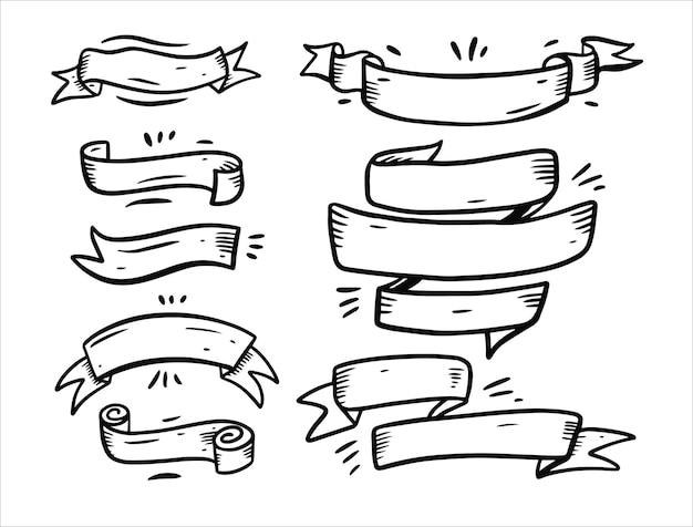 Bannières de ruban de couleur noire doodles ensemble d'éléments isolés sur blanc