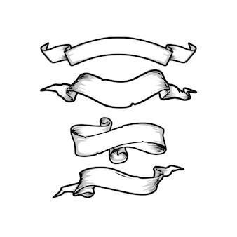 Bannières de ruban dessinés à la main