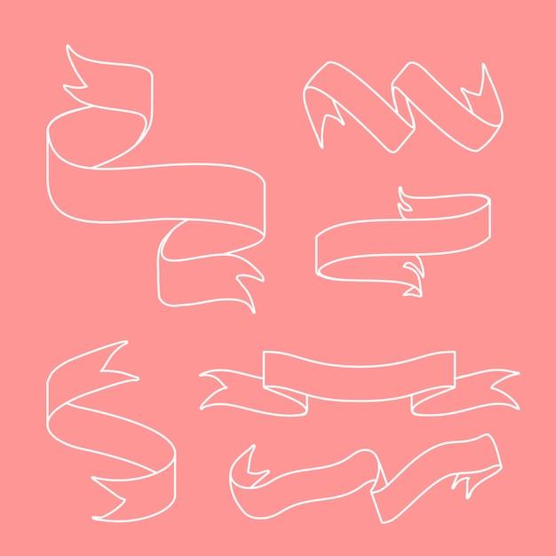 Bannières de ruban doodle style set vector