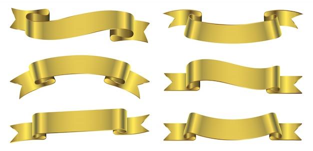 Bannières de ruban d'or