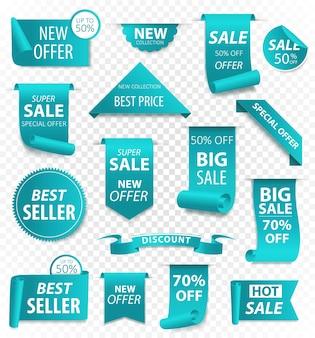 Bannières de ruban. promotion de vente, autocollants de site web, nouvelle collection d'insignes d'offre isolée
