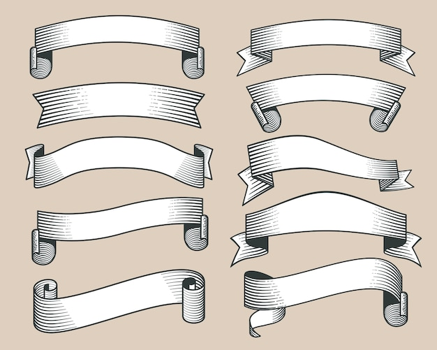 Bannières de ruban rétro dessinés à la main, vecteur de style de gravure. collection de ruban avec rouleau, illustr