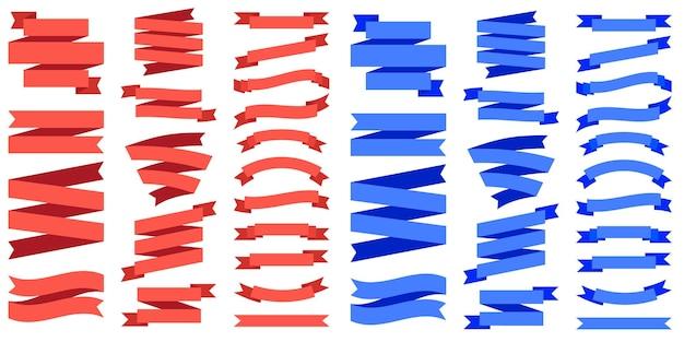 Bannières de ruban rouge et bleu