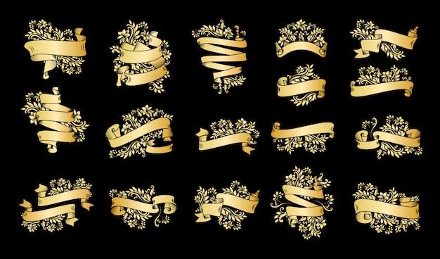Bannières de ruban vintage or avec des feuilles et des fleurs