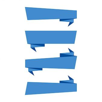 Bannières de rubans. bannières de rubans bleus isolés sur fond blanc. collection de quatre bannières de ruban au design plat branché.