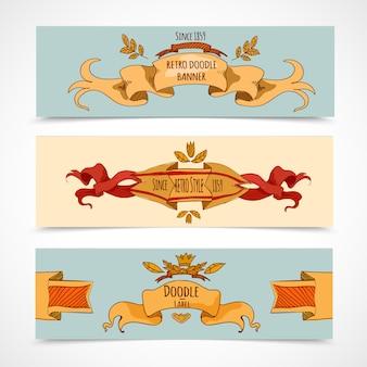 Bannières de rubans dessinés à la main