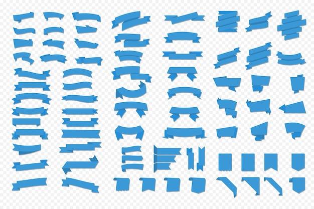 Bannières de rubans vectoriels plats isolés sur fond transparent. grand jeu de ruban bleu