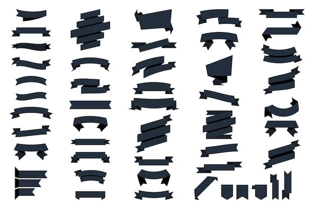 Bannières de rubans web noir isolés sur fond blanc. collection de vecteurs isolés des bannières de rubans. ruban et bannières. bannière de ruban de glyphe. ensemble de ruban noir