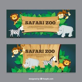 Bannières Safari avec des animaux