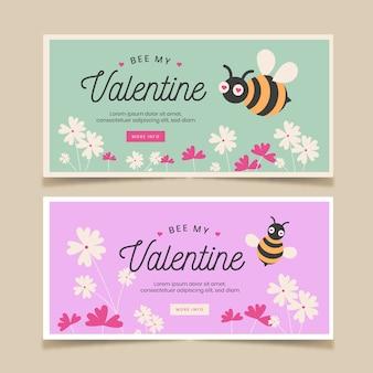 Bannières de saint valentin avec des abeilles et des fleurs