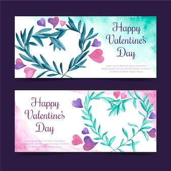Bannières de la saint-valentin aquarelle
