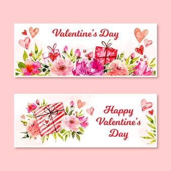 Bannières de saint valentin aquarelle