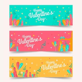 Bannières saint valentin au design plat