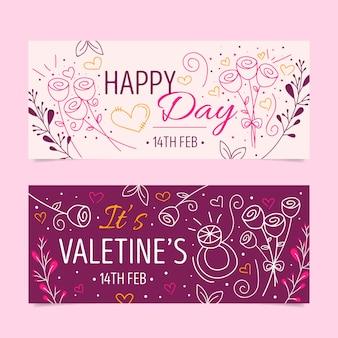 Bannières de la saint-valentin au design plat