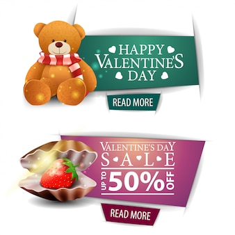 Bannières de la saint-valentin avec boutons, coquillage et ours en peluche