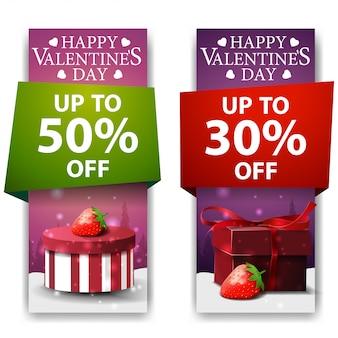 Bannières saint valentin avec des cadeaux et des fraises