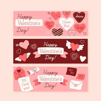 Bannières de la saint-valentin coeurs dessinés à la main