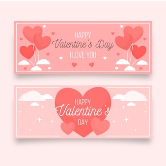 Bannières de saint valentin avec coeurs