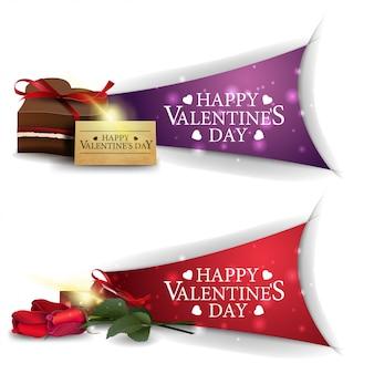 Bannières saint valentin avec des coupes de champagne et des coeurs