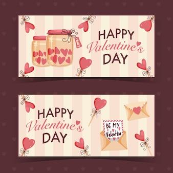 Bannières de saint valentin design dessinés à la main