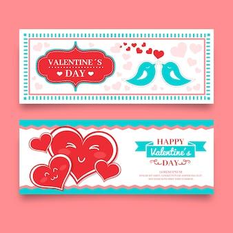 Bannières saint valentin dessinées à la main
