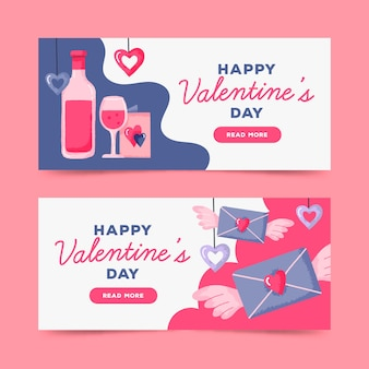 Bannières de saint valentin dessinées à la main
