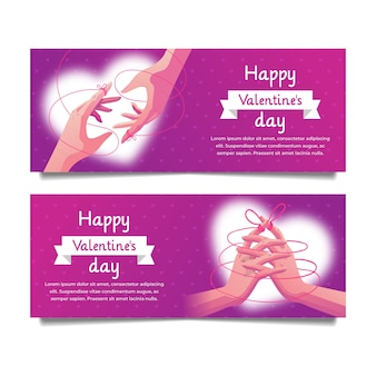 Bannières de saint valentin dessinés à la main
