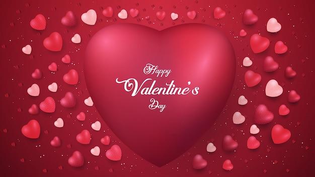 Bannières de la saint-valentin heureuse avec des formes de coeur rouge brillant