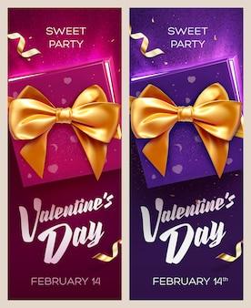 Bannières de la saint-valentin heureuse. vue de dessus sur boîte-cadeau et arc