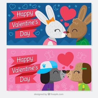 Les bannières de saint valentin heureux avec des couples d'animaux embrassant
