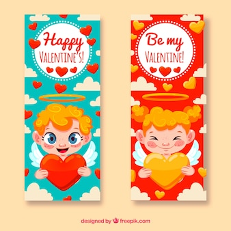 Bannières de la saint-valentin mignon