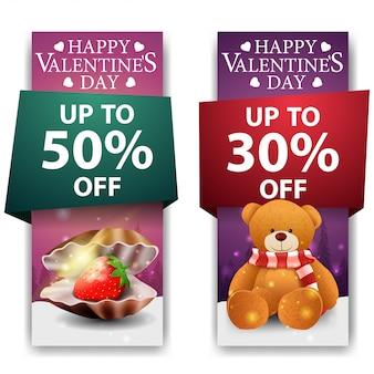 Bannières de la saint-valentin avec nacre et ours en peluche