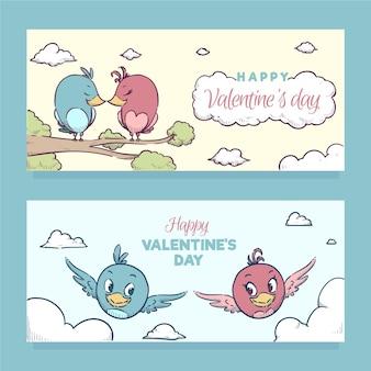 Bannières de la saint-valentin oiseaux dessinés à la main