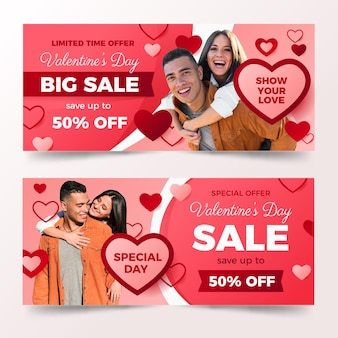Bannières de la saint-valentin avec photo