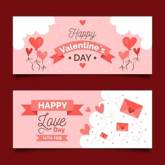 Bannières de la saint-valentin romantique