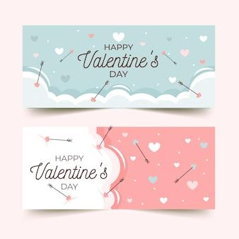 Bannières de saint valentin avec salutation