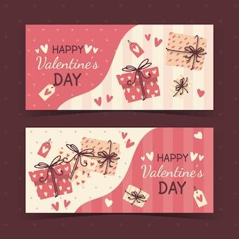 Bannières de saint valentin style dessiné à la main