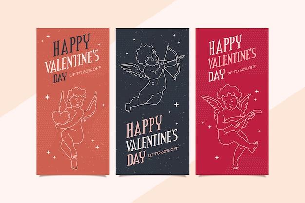 Bannières de la saint-valentin vintage