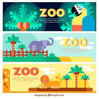 Bannières sauvages plats de zoo