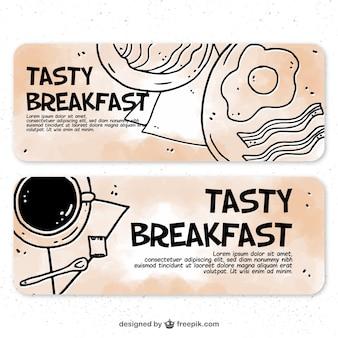 Bannières de savoureux petits-déjeuners dessinées à la main