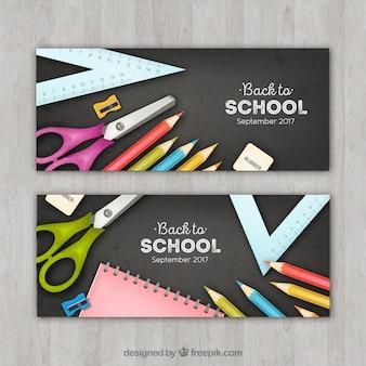 Bannières scolaires avec des accessoires scolaires réalistes