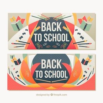 Bannières scolaires dans le style abstrait