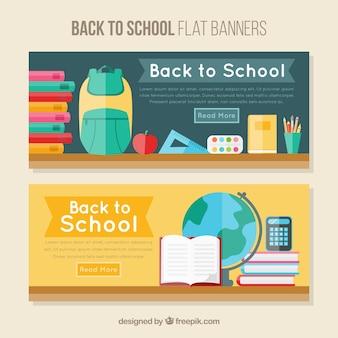 Bannières scolaires avec des éléments en design plat