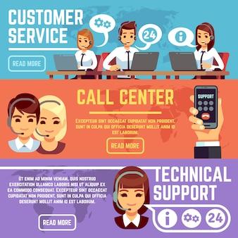 Bannières de service à la clientèle avec des opérateurs de support de centre d'appels aidant le client. ensemble de vecteurs