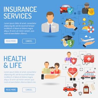 Bannières de services d'assurance