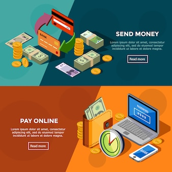 Bannières de services bancaires isométriques