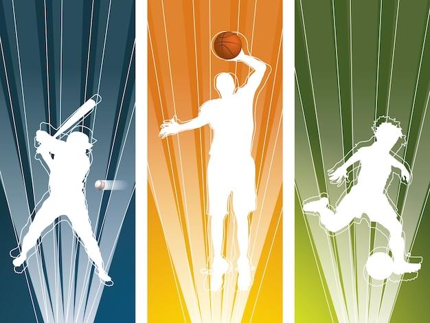 Bannières de silhouette de joueur de sport