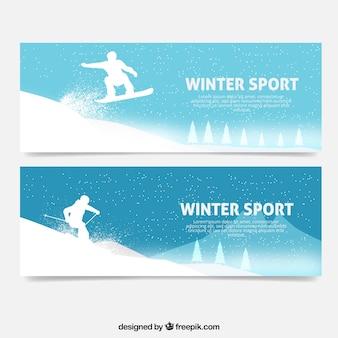 Bannières avec des silhouettes qui pratiquent des sports d'hiver