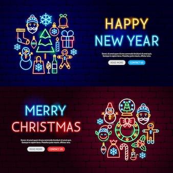 Bannières de site web au néon de noël. illustration vectorielle de la promotion des vacances d'hiver.