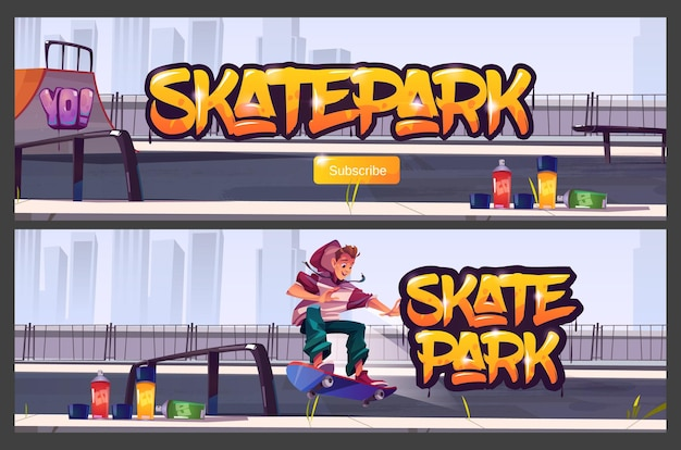 Bannières de skate park avec garçon à cheval sur planche à roulettes